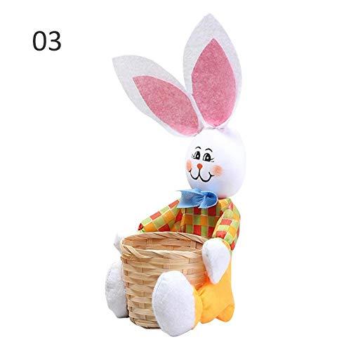 Class-Z Ostereier aufbewahrungskorb,Ostereikorb,Ostergeschenk Kreative süße Hase mit Korb Osterhase Korb Candy Ei Ablagekorb für Kinder