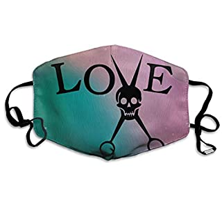 Risating Face Masks Anti-Dust Mouth Cover Amazing Love Skull Washable and Reusable Mask Warm Windproof for Women Men Boys Girls Kids