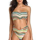 Bikinioberteil und -Unterteil ohne Träger Polstereinsätze ohne Träger Bikinikleid Badebekleidung gepolstertes Oberteil