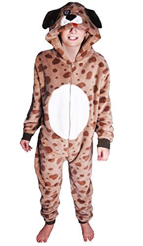 Kinder Jungen Mädchen Strampelanzug Schlafoveralls Tier Overall flauschig Fleece Jumpsuits Mops Teddybär Affe Dalmatiner Schaf Gorilla - Alter 2-13 Jahre, 2-3 Hündchen (Hündchen Kostüm Für Mädchen)