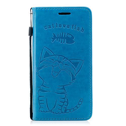 Ostop Brieftasche Hülle für Huawei Mate 20 Lite,Blau Leder Handyhülle,Cute Katze Liebe Fisch Muster Standfunktion Geldbörse Kartenfach Schutzhülle Magnetverschluss Flip Abdeckung - Muster Flache Geldbörse