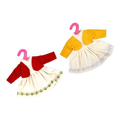Sharplace 2 Stück Hübsche Puppenkeldiung Kleid für 16 Zoll / 40cm Puppen Dress up - Rot & ()