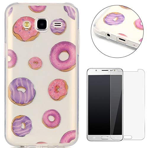 (CaseHome Case for Samsung Galaxy J5 2015/J500FN Hülle Weiche (with Displayschutzfolie) Flexibel Klar Gel Silikon Stoßfest Durchsichtig mit schönem farbenfrohem Muster-Krapfen)