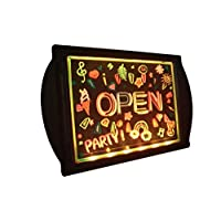 LED Open Sign, Electric Display Sign, Illuminated Erasable Neon Acrylic Board 36 Super-Bright Color Combos for Bar, Nail Salon, Smoke Shop, Hotel, Convenience Store