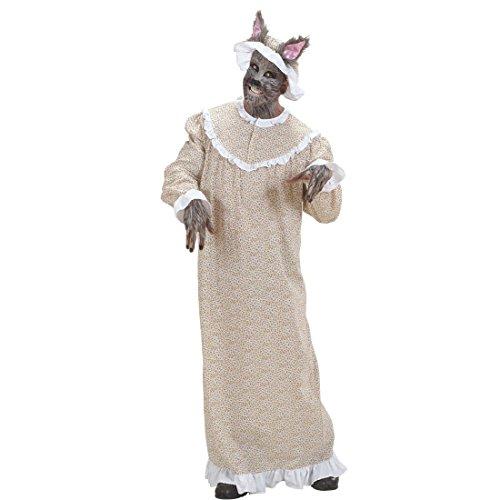 NET TOYS Böser Wolf Kostüm Rotkäppchen Omakostüm M 50 Großmutter Wolfskostüm Oma Märchenkostüm Omakostüm Kleid und Haube Wolfkostüm Rotkäppchenkostüm Karnevalskostüme Märchen Herren (Der Kostüme Und Rotkäppchen Wolf)