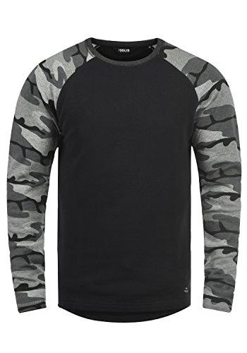 !Solid Cooper Herren Sweatshirt Pullover Pulli Baseball-Sweatshirt Mit Rundhals Und Camouflage-Ärmeln Aus 100{37e53b2e366ba1060a610804d80c76c0391c658cb29d48b3f0ceaf72a126743a} Baumwolle, Größe:S, Farbe:Black Cam (C9000)
