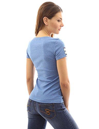 PattyBoutik Damen V-Ausschnitt mit Trimm verschönertes T-Shirt mit Kurzen Ärmeln Heather blau