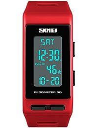 FeiWen Unisex Digitales Deportivo Reloj de Pulsera Outdoor Militar LED Electrónica Multifuncional Podómetro Calorías Plástico Bisel