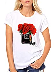 Camisetas Casuales de Verano para Mujeres, Camiseta de Manga Corta Suelta, Cuello Redondo, Top de Camiseta con Estampado Gráfico Simple, Patrón Personalizable, Good dress, Blanco 2#, s