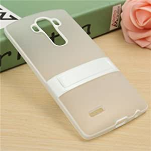 Matte Soft TPU Gel Protective Case Kickstand Stand Back Cover For LG G4-White