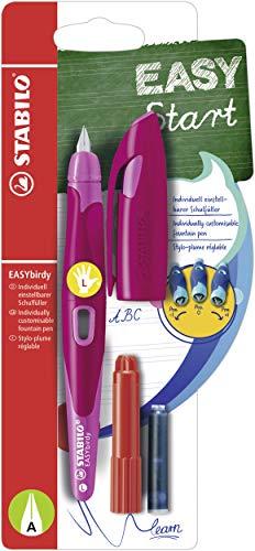 Ergonomischer Schulfüller für Linkshänder mit Anfänger-Feder A - STABILO EASYbirdy in beere/pink - inklusive Patrone und Einstellwerkzeug