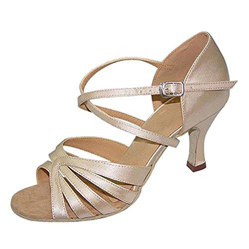 Yff Regalo Mujeres Bailan Zapatos Baile Latino Baile Tango Zapatos De Baile 7cm Rice White