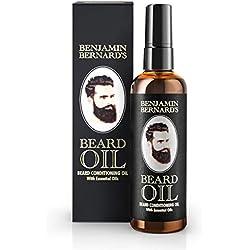 Huile Hydratante pour Barbe - Benjamin Bernard - Favorise la Pousse de la Barbe - Contient de l'Huile de Ricin, de Jojoba, d'Argan - Soin pour Barbe - Parfum Léger - 100 ml