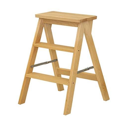 MU Tragbarer Tritthocker, 3-Stufenleiter aus Holz rutschfeste Multifunktionsbibliothek Schlafzimmer Wohnzimmer Leicht zu verstauen 42 X 48 X 64 cm (Color : Wood Color) -