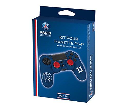 Subsonic Kit pour manette PS4 (housse + caps) – Silicone pour manette playstation 4 – Licence officielle PSG – Paris Saint Germain – Bleu et blanc
