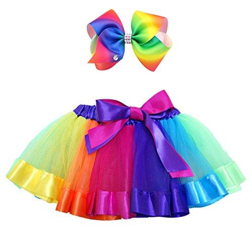 Schule Mädchen Tutu Kostüm (Alead Geschichtetes Ballett Tüll Regenbogen Tutu Rock für kleine Mädchen Dress up mit bunten Haarbögen (A,)