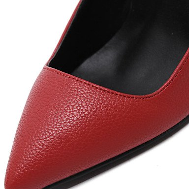 Moda donna sexy sandali scarpe donna Easy Street Slip-on Split tacchi comune/Pompe Punta tacchi a spillo Party/Dress/Scarpe Casual Red