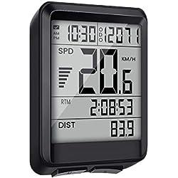 EIVOTOR Compteur de Vélo Multifonction sans Fil Ordinateur de Vélo Vitesse Étanche Compteur Kilometrique de Vélo avec Chronomètre Compteur de Vitesse Odomètre Rétroéclairage LCD