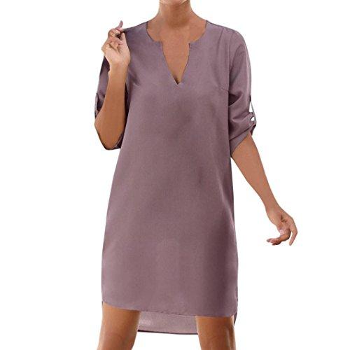 SEWORLD 2018 Damen Mode Sommer Herbst Frauen Beiläufig Solide 1/2-Ärmel V-Ausschnitt Schnür Tasche Unregelmäßige Oberteile Hem Beach Dress(Violett,EU-42/CN-M)