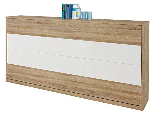 Schrankbett 90x200 in Braun und Weiß, Wandbett inklusive Lattenrost ist die perfekte Lösung für gesunden Schlaf in kleinen Räumen