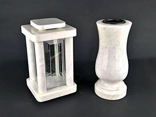 designgrab Modern Grablampe mit Vase aus Carrara Marmor weiß, Grabschmuckset (Marmor Weißer Für Vasen)