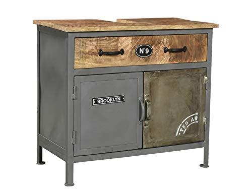 Woodkings® Bad Waschbeckenunterschrank Pinetown Metall recyceltes Massivholz antik, Unterschrank Vintage, Design, Badmöbel, Industrial Stil Metall Holz Mix -