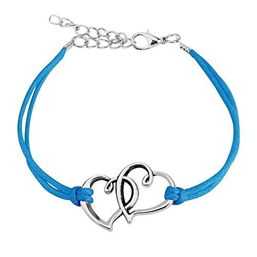 *Bungsa Blaues Freundschafts-Armband mit 2 Silbernen Herzen aus Leder – BFF-Armband für Frauen & Männer*