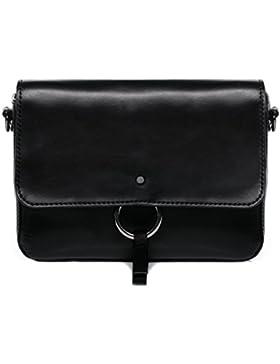 FEYNSINN Clutch mit langem Schultergurt VIGA - Umhängetasche klein - Abendtasche - echt Leder schwarz
