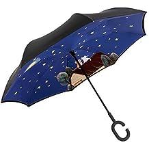 JAYLONG Sombrilla de viaje 8 costillas de mano libre Reverse Walk Construcción de acero inoxidable portátil resistente Paraguas plegable de secado rápido a ...