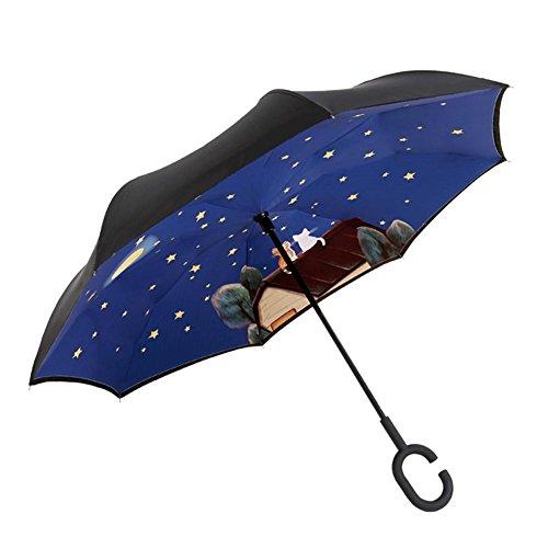 JAYLONG Sombrilla de viaje 8 costillas de mano libre Reverse Walk Construcción de acero inoxidable portátil resistente Paraguas plegable de secado rápido a prueba de agua para mujeres, hombres, niños y niños , D