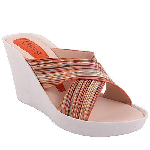 Unze Neue Damen Damen 'Roana' Slip auf Mid High Keilabsatz Casual Platform Sandalen Schuhe Größe 3-8 - 90029-6 Orange