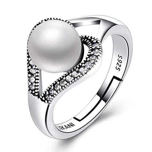Aoligei Einstellbarer Ring 925 Silber eingelegten offen perlenring Anti Allergie Ringe senden Lieben Geburtstag Geschenke 8mm