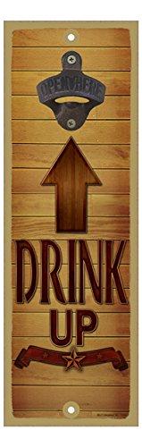 (sjt07454) Drink Up–Braun Holz in Richtung Flaschenöffner Pfeil–Banner und Star unten 12,7x 38,1cm Flaschenöffner Schild