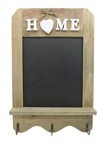 Stilvolle Tafel im Vintage Stil - Dekotafel mit Haken & Ablagefläche - dekorative Kreidetafel im Landhaus-Stil - Schiefertafel Größe 33 x 22 cm
