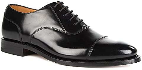 Men's LOAKE 200B Capped Oxford Lace-Up Polished Leather Shoes (7 G (UK), Black)