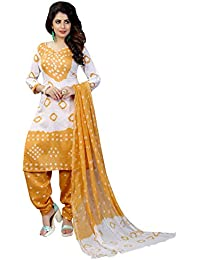 Taboody Empire Lookable Yellow Satin Cotton Handi Crafts Bandhani Work With Straight Salwar Suit For Girls And...