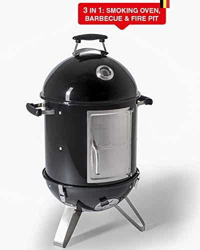 Barbecook Räucherofen Smoker für kalt und heiß räuchern mit Temperatur-Sonde und regulierbarer Luft-Zufuhr, Stahl, schwarz, 88 cm hoch