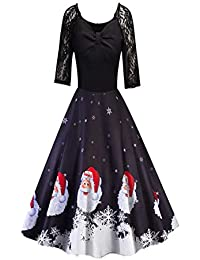 091775870a Beladla Vestidos De Mujer Elegantes Navidad Estampado Mujers Vestido De  Noche Encaje Retro Largo Traje Talla