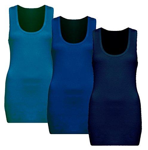 3x Damen Tanktop - Beach Top - Tank Tops - Unterhemd Ringertop - Ringerrücken - Runder Halsausschnitt - TShirt - 3er Pack - 9002 - Türkis + Royal + Dunkel Blau