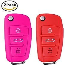 2piezas carcasa llave Audi, e-unicorn Guscio funda de silicona para llave Audi A3S3A4S4RS4A6S6RS6Q7TT TTS R8mando a distancia 3teclas coche Key Carcasa Suave Protección protectora cubierta accesorio–Rosa Negro Rojo Púrpura