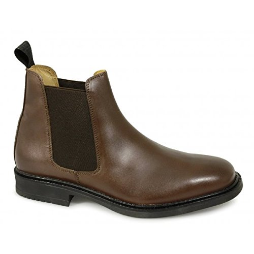 Mens Brown Roamers Leather Chelsea Boots Cushioned leather lining