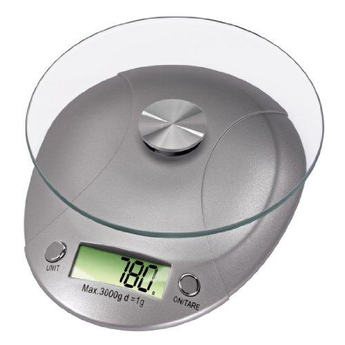 Xavax Präzise digitale Küchenwaage (Mit abnehmbarer Wiegefläche, Aus Sicherheitsglas, Bis 5 kg, Milla) silber