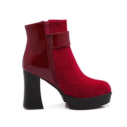 AllhqFashion Damen Mattglasbirne Niedrig-Spitze Nietbolzen Reißverschluss Stiefel, Rot, 40