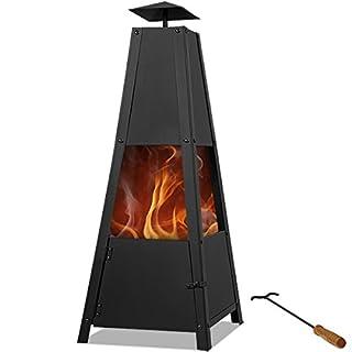 Deuba® Feuerstelle Pyramide   Schürhaken   Rauchabzug   verschließbare Tür   stabiler Stand Terrassenofen Feuerkorb