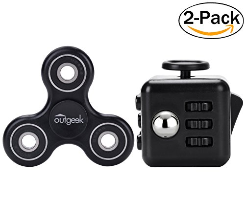 2 Pack Stress Release Toys Set,Outgeek High Speed Tri-Spinner with Anti-Anxiety Fidget Dice Perfect for ADD / ADHD / Anxiety / Autism And Stress Relief Adult Children,Office Desk Gadget(Black) - 2