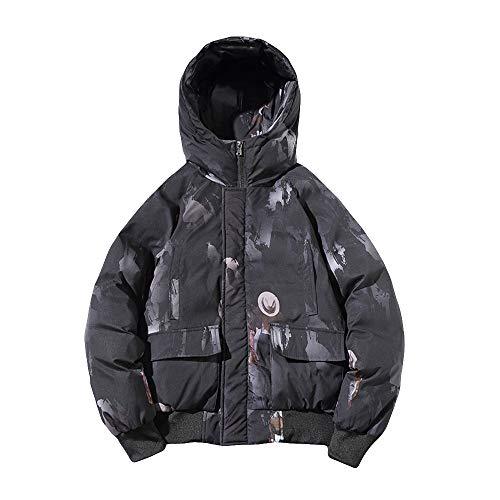 IMJONO Männer Camouflage Winter lang mit Kapuze Ärmeltasche verdicken Mantel PulloverTop Bluse (XXXXX-Large,Schwarz)