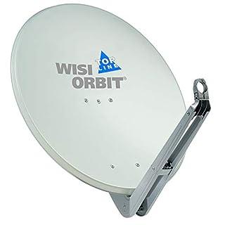 WISI Orbit Topline Satelliten Offset-Antenne OA85G in Lichtgrau – 85cm Reflektor aus Aluminium mit 40mm LNB-Halterung, Feedarm und Mastschellen – Komplette Sat Antenne mit Montagezubehör