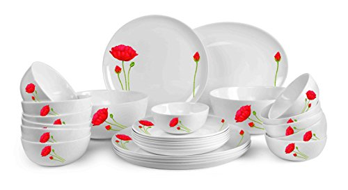Cello Monarch Red Poppy Opalware Dinner Set, 27-Pieces, White