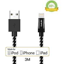 iPhone Cargador, Kinps [de Apple MFi Certificado] 10pies / 3m extra largo de 8 pines iPhone ligthning, de nylon trenzado,cable de carga para el iPhone 6 / 6s / 6s 6 Plus / Plus / 5s / 5c / 5, 7 iPod, iPad Mini / Mini 2 / Mini 3, Aire iPad / iPad 2 Aire (Negro)