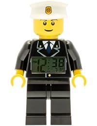 Sveglia retroilluminata LEGO City 9002274 per bambini minifigure poliziotto | nero/bianco | plastica | altezza: 24 cm circa | Display LCD | bambino/bambina | ufficiale